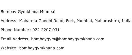 Bombay Gymkhana Mumbai Address Contact Number
