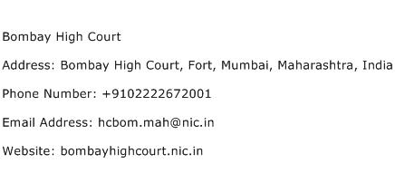 Bombay High Court Address Contact Number