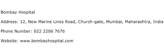 Bombay Hospital Address Contact Number
