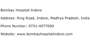 Bombay Hospital Indore Address Contact Number