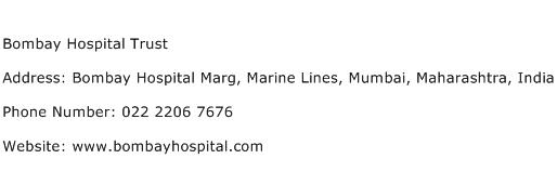 Bombay Hospital Trust Address Contact Number