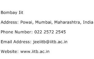 Bombay Iit Address Contact Number