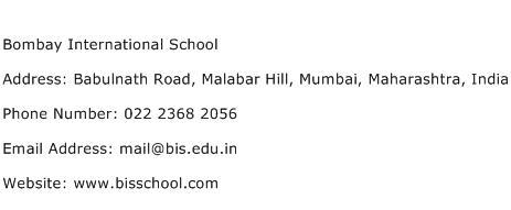 Bombay International School Address Contact Number