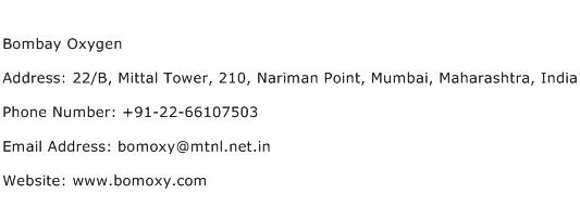 Bombay Oxygen Address Contact Number