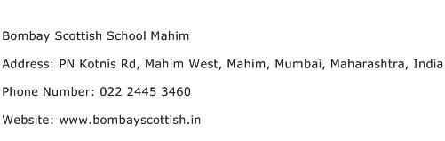 Bombay Scottish School Mahim Address Contact Number