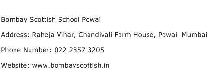 Bombay Scottish School Powai Address Contact Number