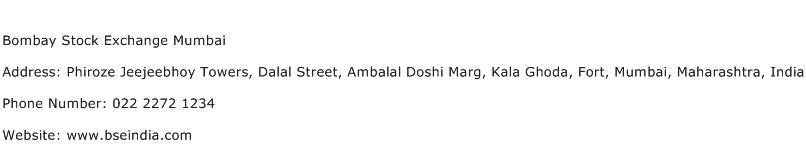 Bombay Stock Exchange Mumbai Address Contact Number