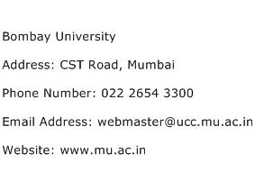 Bombay University Address Contact Number