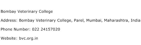 Bombay Veterinary College Address Contact Number