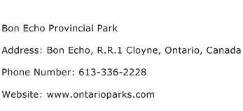 Bon Echo Provincial Park Address Contact Number