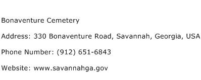 Bonaventure Cemetery Address Contact Number