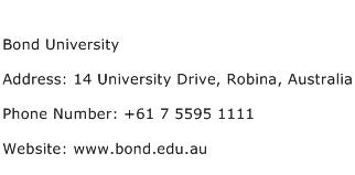Bond University Address Contact Number