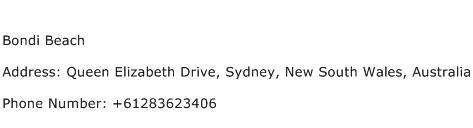 Bondi Beach Address Contact Number