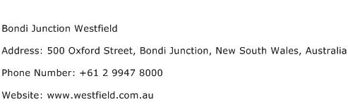 Bondi Junction Westfield Address Contact Number