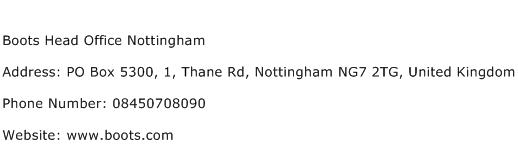 Boots Head Office Nottingham Address Contact Number