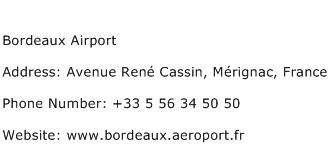 Bordeaux Airport Address Contact Number