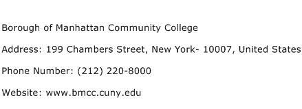 Borough of Manhattan Community College Address Contact Number