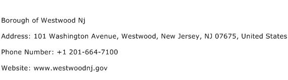 Borough of Westwood Nj Address Contact Number