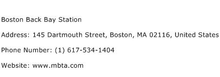 Boston Back Bay Station Address Contact Number