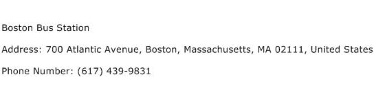 Boston Bus Station Address Contact Number