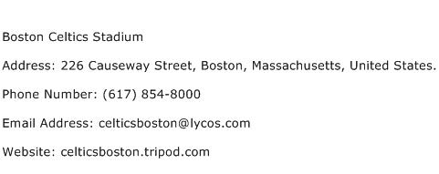 Boston Celtics Stadium Address Contact Number