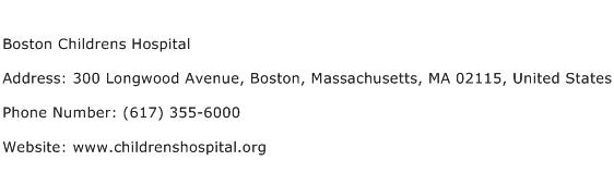 Boston Childrens Hospital Address Contact Number