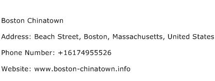 Boston Chinatown Address Contact Number
