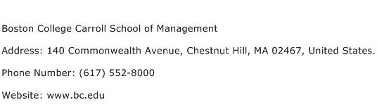 Boston College Carroll School of Management Address Contact Number