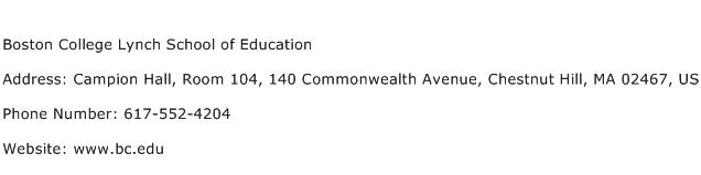 Boston College Lynch School of Education Address Contact Number