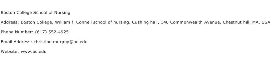 Boston College School of Nursing Address Contact Number