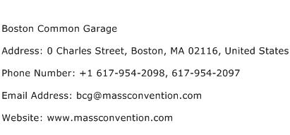 Boston Common Garage Address Contact Number