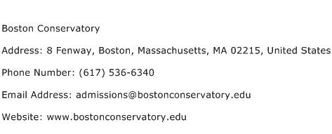 Boston Conservatory Address Contact Number