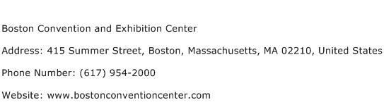 Boston Convention and Exhibition Center Address Contact Number