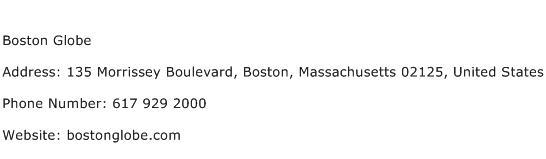 Boston Globe Address Contact Number
