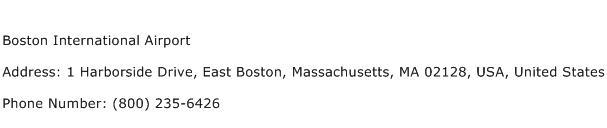 Boston International Airport Address Contact Number