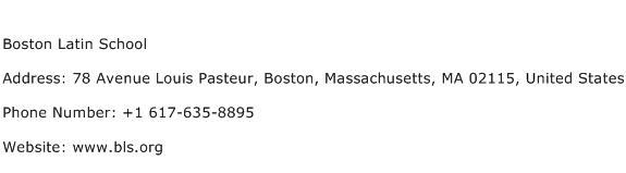 Boston Latin School Address Contact Number