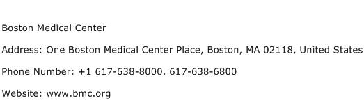 Boston Medical Center Address Contact Number