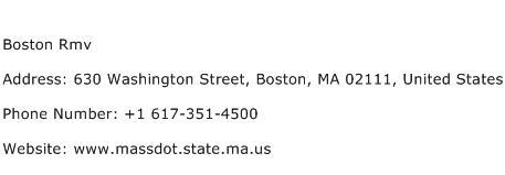 Boston Rmv Address Contact Number