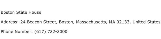 Boston State House Address Contact Number
