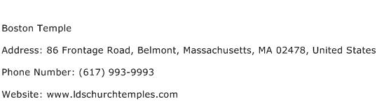 Boston Temple Address Contact Number