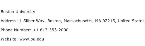 Boston University Address Contact Number