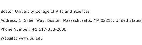 Boston University College of Arts and Sciences Address Contact Number
