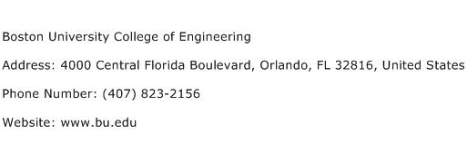 Boston University College of Engineering Address Contact Number