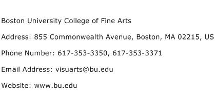Boston University College of Fine Arts Address Contact Number