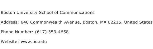 Boston University School of Communications Address Contact Number