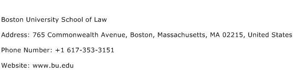 Boston University School of Law Address Contact Number