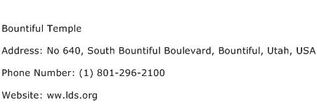 Bountiful Temple Address Contact Number