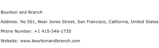Bourbon and Branch Address Contact Number