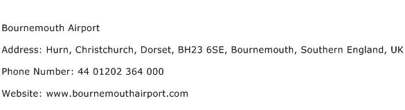 Bournemouth Airport Address Contact Number