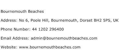 Bournemouth Beaches Address Contact Number